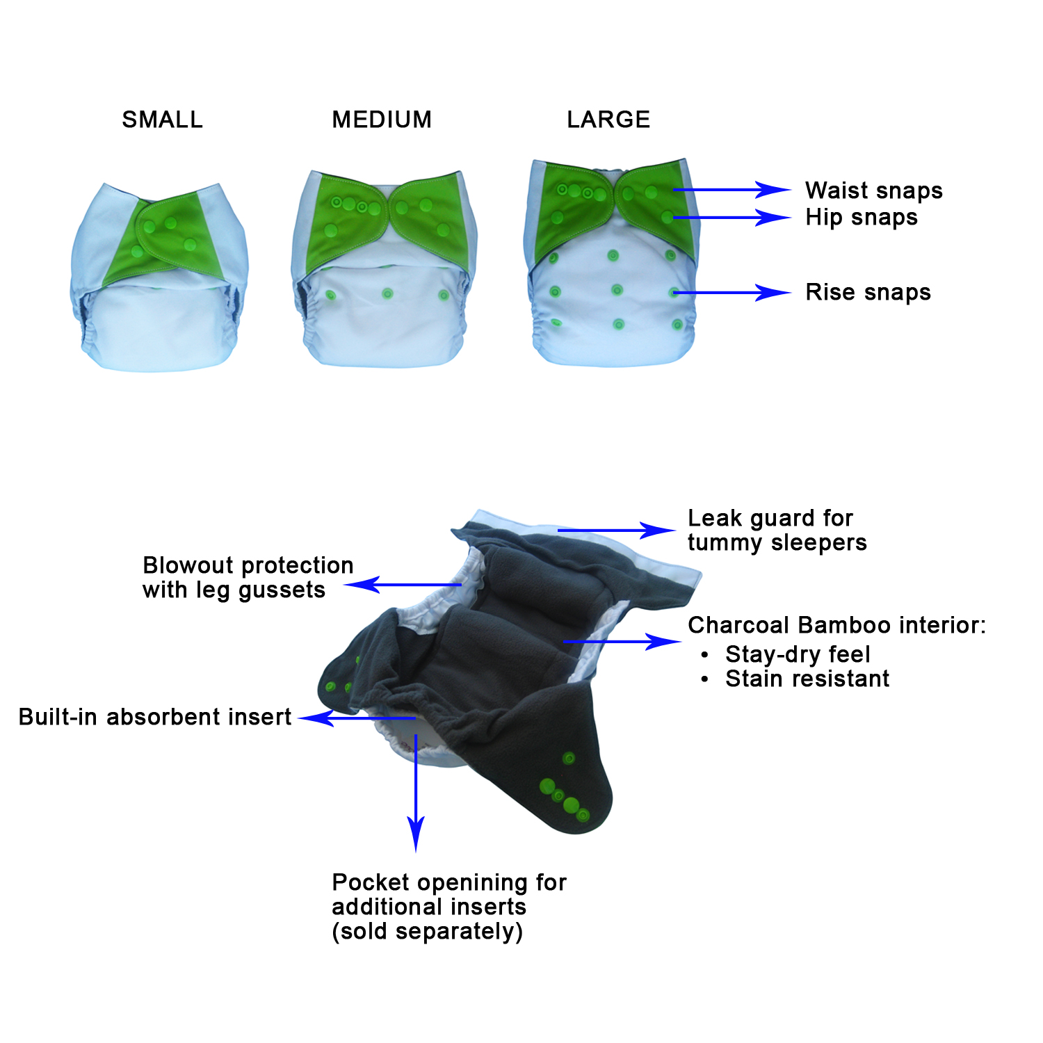 All-in-one (AIO) cloth diaper with pocket option