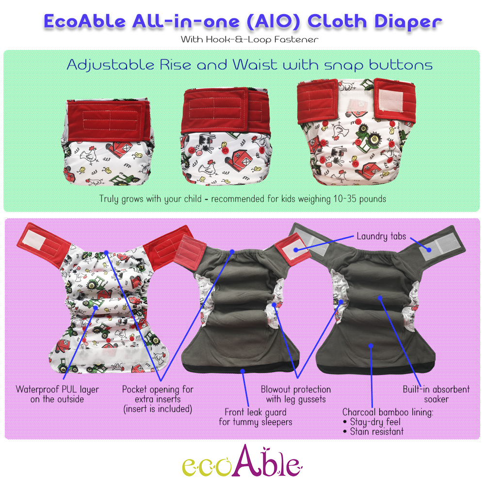 Hook-&-Loop AIO Cloth Diapers with Charcoal Bamboo Inserts, Value Pack Bundle