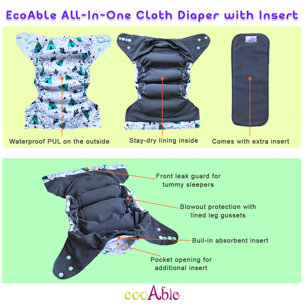 Charcoal Bamboo All-in-one (AIO) Cloth Diaper