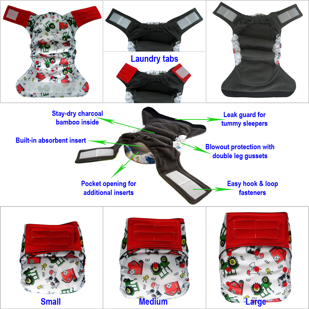 Reusable all-in-one cloth diaper with hook-and-loop closure and charcoal bamboo lining