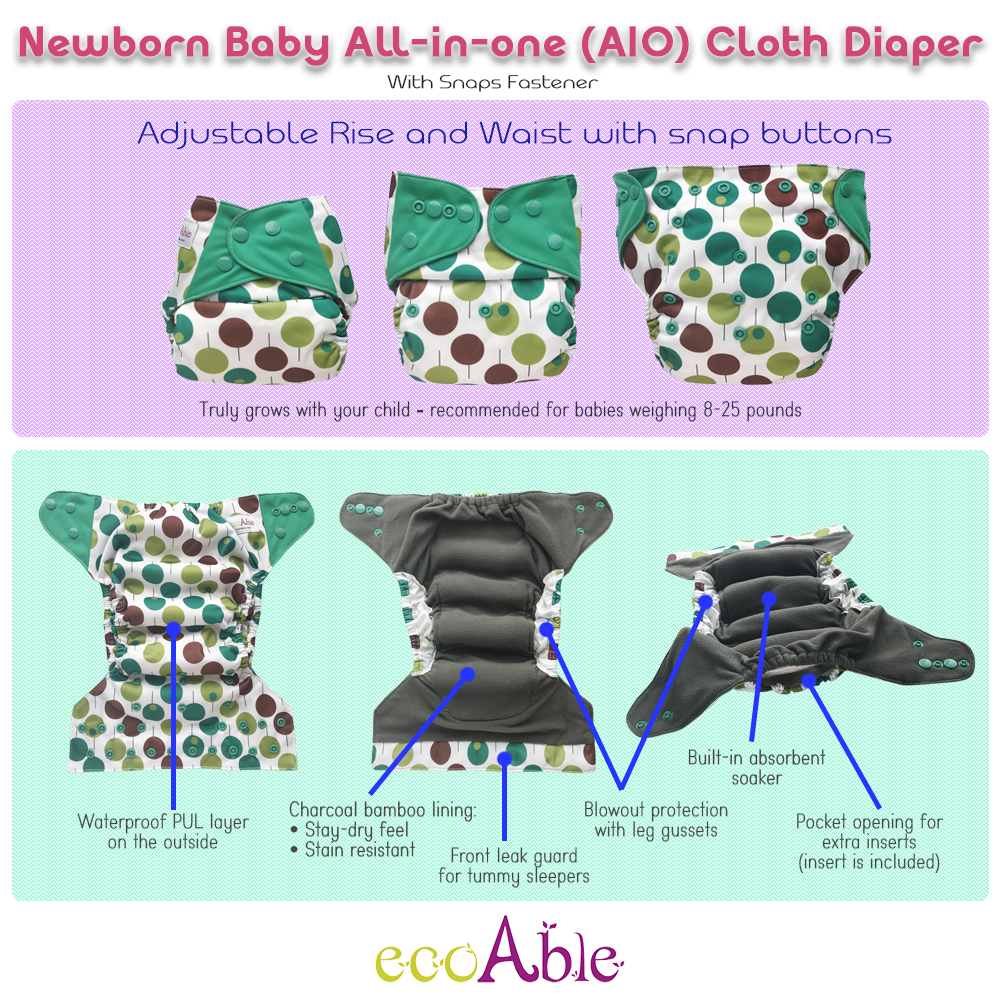 Newborn baby AIO cloth diaper with bamboo insert