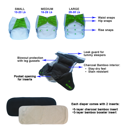 EcoAble Cloth Pocket Diaper with 2 Charcoal Bamboo Insert