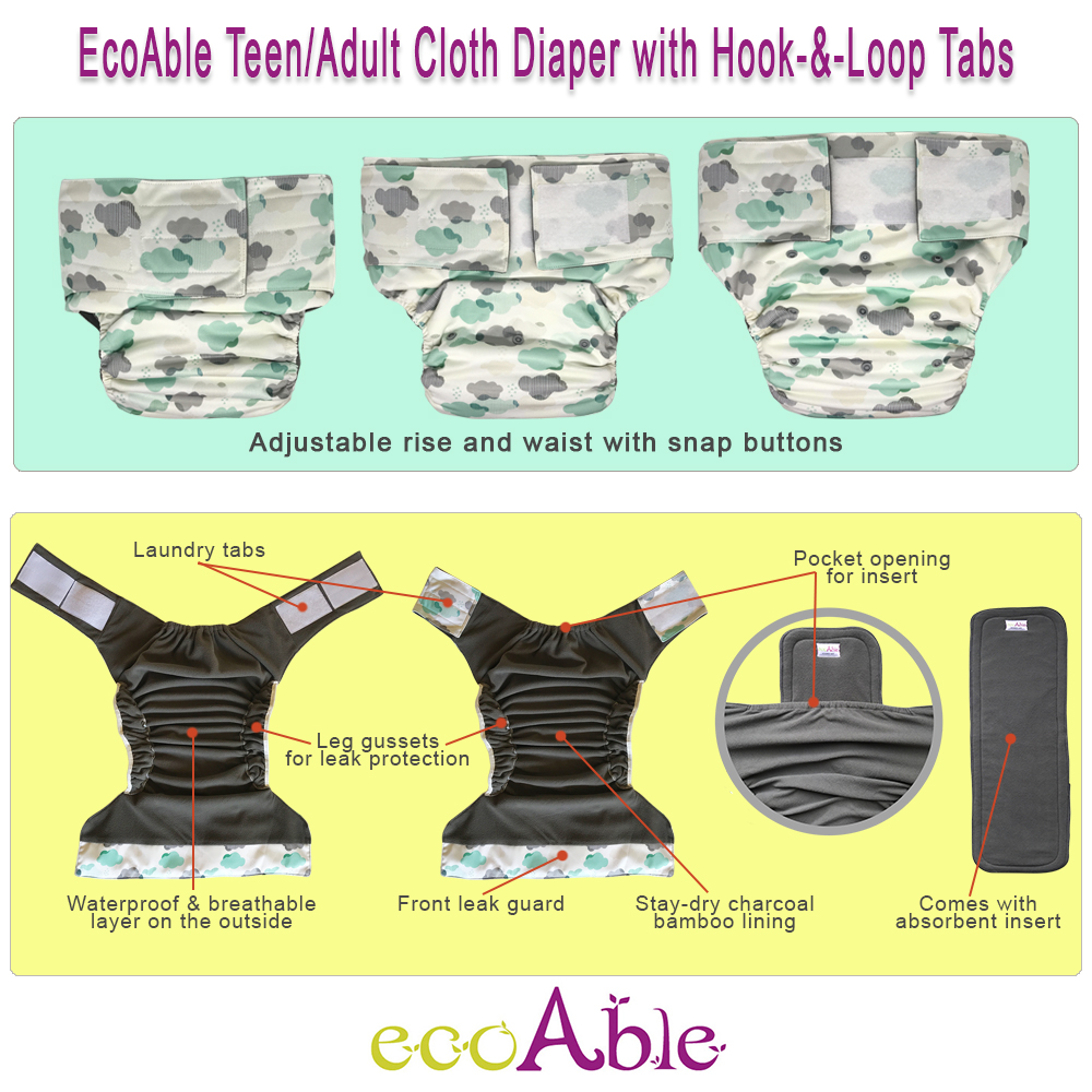Teen Adult Cloth Diaper with Sticky Tape
